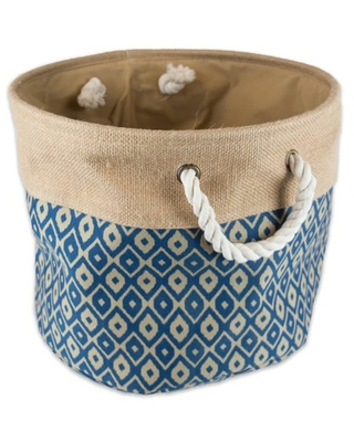 """DII Collapsible Burlap Storage Basket - Home Organizational Solution for Office, Bedroom, & Laundry (Large Round 16x15""""), Blue Ikat"""