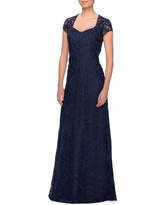 La Femme Embellished Lace Gown, Size 8 in Navy at Nordstrom