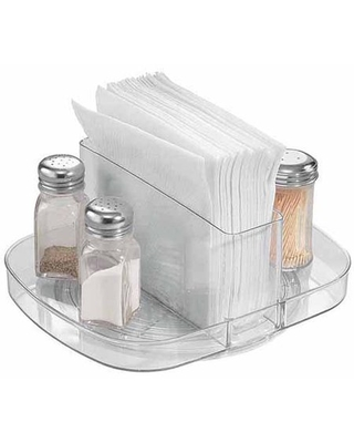 iDesign Plastic Linus Lazy Susan Turntable Napkin and Condiments Holder, Clear