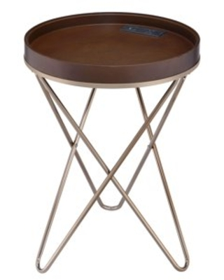 ACME Crary Side Table in Walnut and Champagne