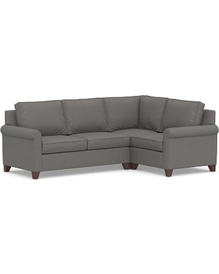 Cameron Roll Arm Upholstered Left Arm 3-Piece Corner Sectional, Polyester Wrapped Cushions, Performance Brushed Basketweave Slate