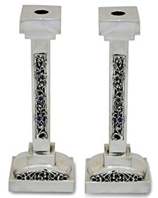 Exclusive 925 Sterling silver Square shape Candlesticks with Amethyst stones