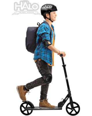 HALO Supreme Big Wheel Scooter - Black - Rise Above the rest! Foldable, Height Adjustable, Smooth ride!