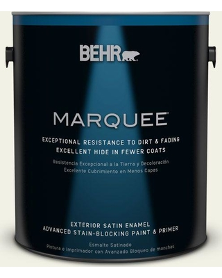 BEHR MARQUEE 1 gal. #ppl-57 White Smoke Satin Enamel Exterior Paint and Primer in One