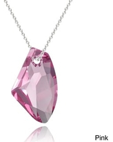 Crystal Ice Sterling Silver Free-form Crystal Necklace (Pink)