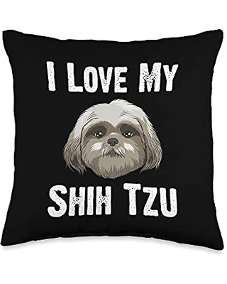 Best Pup Breed & Little Lion Fur Floppy Presents Funny Shih Tzu Gift For Men Women Pet Dog Puppy Owner Animal Throw Pillow, 16x16, Multicolor
