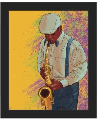 Bargains on Click Wall Art \'Jazzy Saxophone\' Framed Graphic Art ...