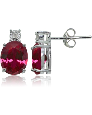 Glitzy Rocks Sterling Silver Created Ruby and Diamond Accent Oval Drop Stud Earrings - Red (Created Ruby)