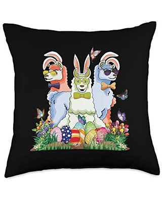 Easter Egg Basket Stuffers Family Merch Bunny Womens Easter Llama Egg Hunt Outfit Girls Teen Throw Pillow, 18x18, Multicolor