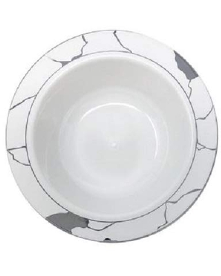 White & Silver Bowl - 5 oz | Marble Collection | Pack of 10