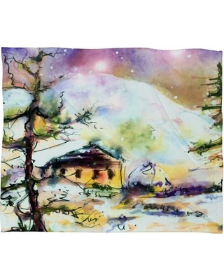 East Urban Home Cabin In The Snow Plush Fleece Throw Blanket ESRB6509 Size: Small