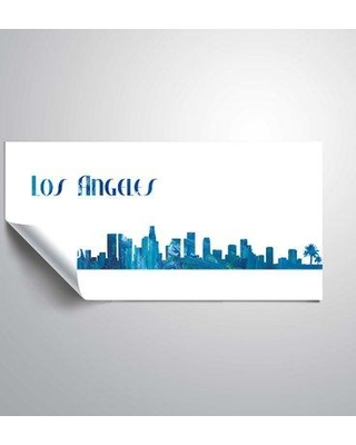 "East Urban Home 'Los Angeles Skyline Scissor Foreground' Graphic Art Print on Wrapped Canvas BI044383 Size: 12"" H x 24"" W Format: Paper"
