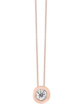 Effy Rose Gold 1/5 ct. t.w. MIrcale Set Solitaire Pendant in 14k Rose Gold