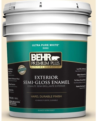 BEHR Premium Plus 5 gal. #YL-W07 Smooth Silk Semi-Gloss Enamel Exterior Paint and Primer in One