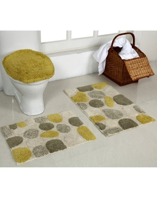 Better Trends River Rock Collection is Ultra Soft, Plush and Absorbent Tufted Bath Mat Rug 100% Cotton in Vibrant Colors, 3 Piece Set, Yellow
