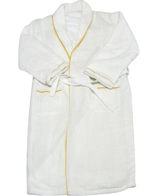 Radiant Saunas European Spa and Bath in White Waffle Weave Terry Cloth Robe with Gold Embroidered Trim