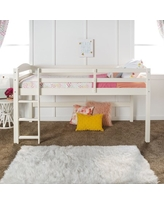 Manor Park Solid Wood Junior Twin Low Loft Bed, White