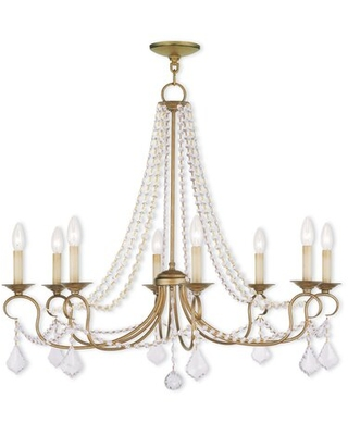 Doane 8 - Light Candle Style Classic / Traditional Chandelier with Crystal Accents
