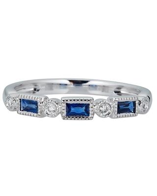 10K WG Blue Sapphire & Diamond Ring by Anika and August - White (6)