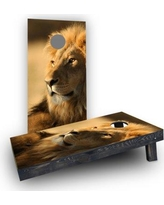 Custom Cornhole Boards Laying Lion Cornhole Boards CCB487-C Bag Fill: Light Weight Boards with All Weather Bags