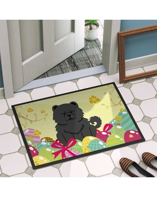 """Saroyan Chow Chow 27 in. x 18 in. Non-Slip Outdoor Door Mat The Holiday Aisle Color: Black, Size: 36""""L x 24"""" W"""