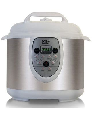 Elite Platinum EPC-608W Maxi-Matic 6 Quart Electric Programmable Digisital Pressure Cooker, White (Stainless Steel)