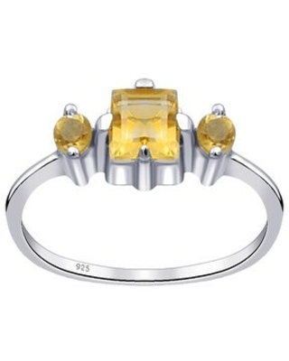 Multi Color Gemstones Sterling Silver Square Promise Ring By Orchid Jewelry (8 - Citrine)