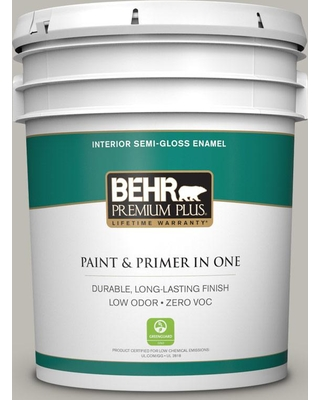 BEHR PREMIUM PLUS 5 gal. #MQ6-23 Pumice Semi-Gloss Enamel Low Odor Interior Paint and Primer in One