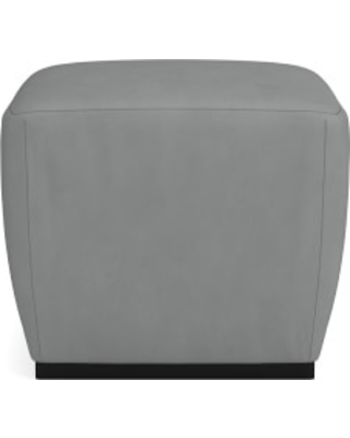 Tapered Pouf, Ebony, Tuscan Leather, Dove