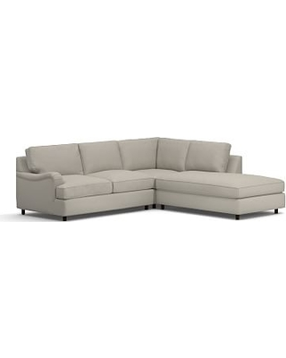 PB English Upholstered Left 3-Piece Bumper Sectional, Down Blend Wrapped Cushions, Performance Slub Cotton Silver Taupe