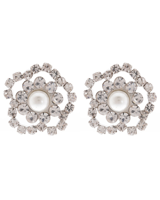 Clear Pearl Center Flower Rhinestone Shank Buttons - 20mm