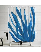 East Urban Home Jetty Printables Blue Watercolor Seaweed Painitng 1 Shower Curtain URBR4909
