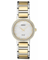 Seiko Women's Crystal Accent & Glitter Two Tone Solar Watch - SUP434, Size: Small, Gold
