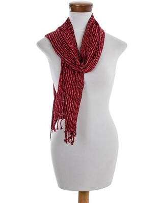 Colorful Hand Woven Rayon Scarf from Guatemala