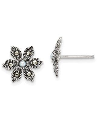 Primal Silver Sterling Silver Antiqued Marcasite and Fresh Water Cultured Pearl Flower Post Earrings