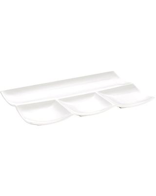 CAC China F-12S Accessories New Bone White Porcelain Rectangular Platter with 4 Compartments, 12 by 8 by 1-Inch, 12-Pack