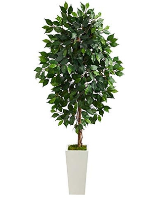 4.5ft. Ficus Artificial Tree in White Planter