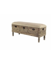 """Rustic 20"""" x 47"""" Three-Drawer Storage Bench with Cushioned Seat - Multi"""