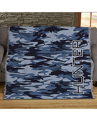 Personalized 50x60 Woven Throw Camo Blanket
