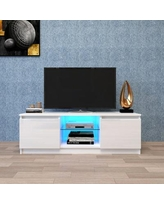 TV Cabinet with Lights, Modern LED TV Stand with Storage Drawers