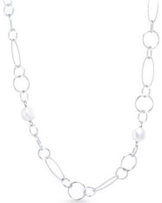 Belk Silverworks Silver Fine Silver Plated Oval and Multi Circle Water Pearl Necklace