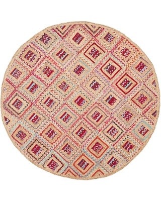 Safavieh Cape Cod Natural/Red 6 ft. x 6 ft. Round Area Rug