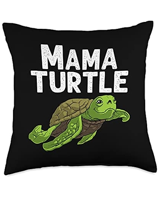 Best Tortoise Reptile & Bony Shell Species Designs Funny Gift for Mom Mama Sea Turtle Land Water Animal Throw Pillow, 18x18, Multicolor