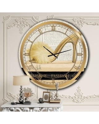 Designart 'Gold Fashion High Hells II' Posh & Luxe Large Wall CLock (38 in. wide x 38 in. high)