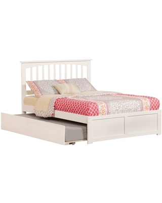 Mission Full Platform Bed with Flat Panel Foot Board and Twin Size Urban Trundle Bed in White (Full - White)