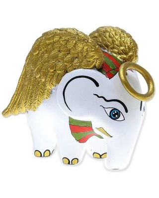 Hand-Painted Ceramic Angel Elephant Figurine from Thailand