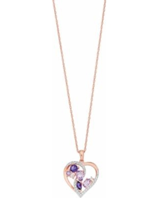 """""""14k Rose Gold Over Silver Amethyst & Lab-Created White Sapphire Heart Pendant Necklace, Women's, Size: 18"""", Purple"""""""