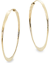 14K Yellow Gold Hammered Hoop Earrings