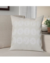 "The Holiday Aisle Happy Holidays Print Throw Pillow HLDY1229 Size: 26"" H x 26"" W, Color: Cream"