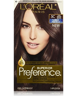 L'Oreal Paris Superior Preference Fade-Defying + Shine Permanent Hair Color, 5C Cool Medium Brown, Pack of 1, Hair Dye